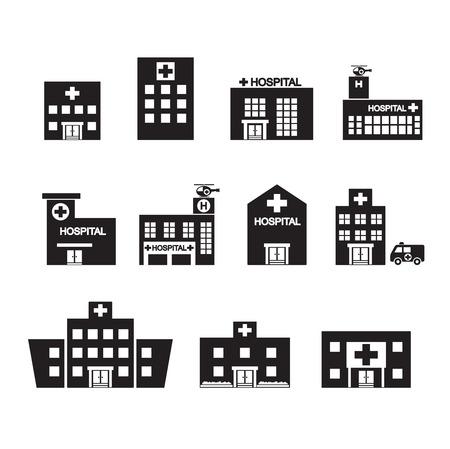 mimari ve binalar: Hastane simge seti Çizim
