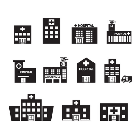 cantieri edili: ospedale set di icone