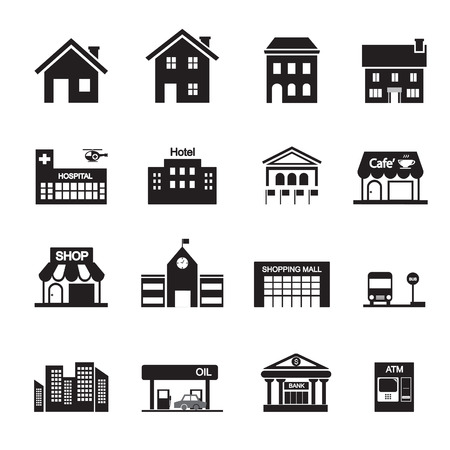 business building: building icon Illustration