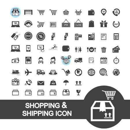 Icona dello shopping e spedizione Archivio Fotografico - 32363547