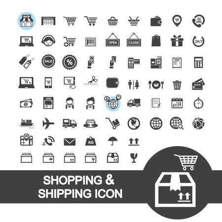 shopping and shipping icon 向量圖像