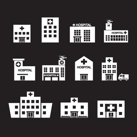 hospital building: hospital icon set