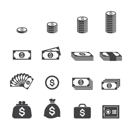 white paper bag: money icon