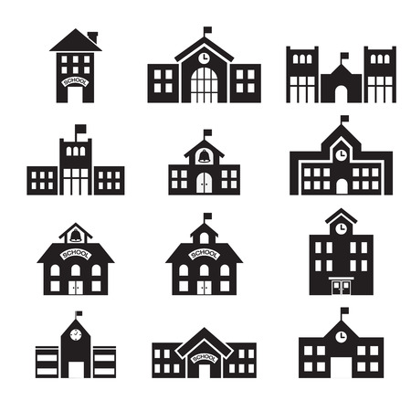 school building icon 일러스트