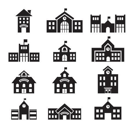 škola: icon školní budova Ilustrace