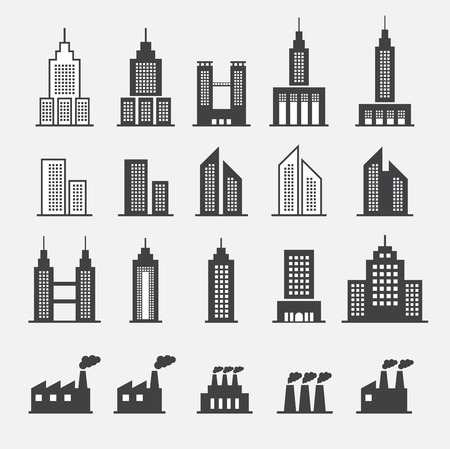 office building exterior: building icon Illustration