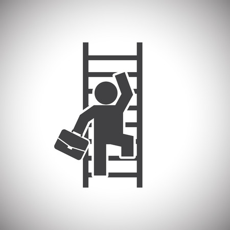 climbing ladder: Businessman Climbing Ladder