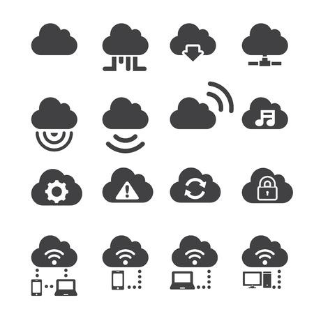 wireless icon: cloud icon set