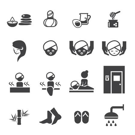 medical shower: Spa icons set