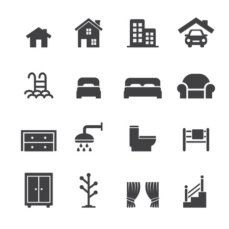 shower curtain: House related icons