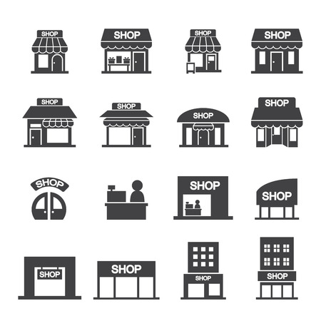 warehouse interior: shop building icon set