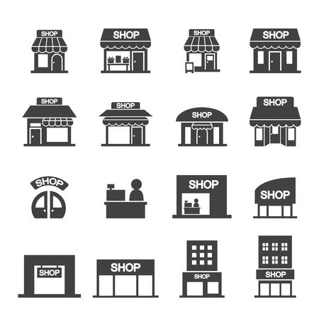winkel gebouw icon set