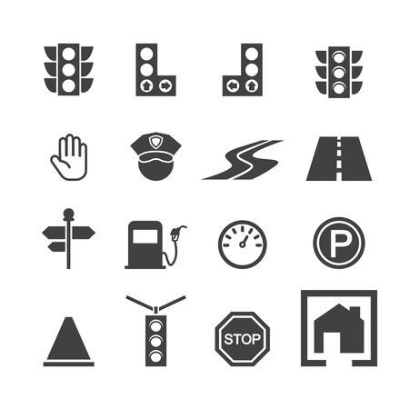 traffic cones: traffic icon set Illustration