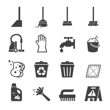 rubbish bin: cleaning icon Illustration