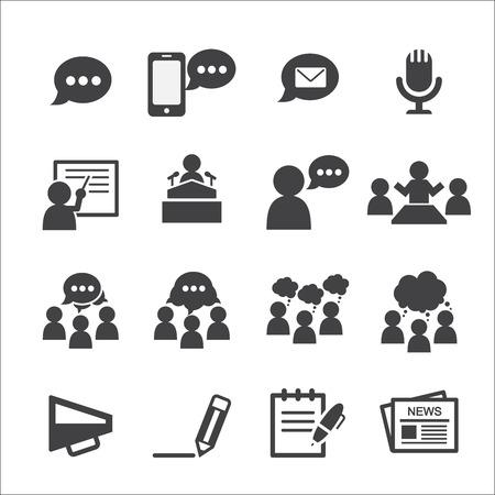 paper people: communication icon set Illustration