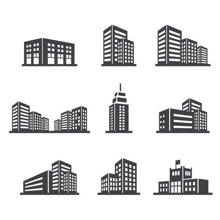modern residential building: building icon Illustration