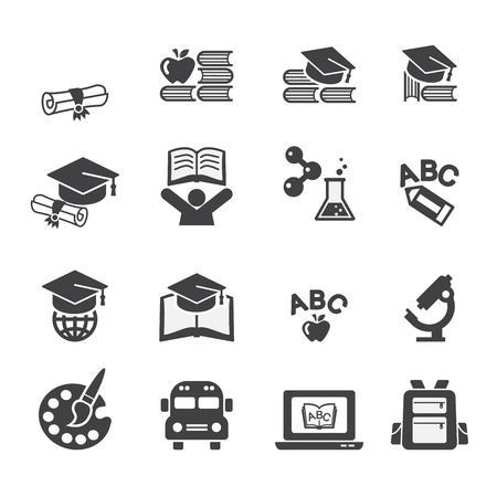 mortar cap: education icon set