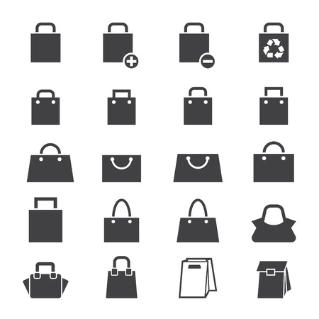 shopping bag icon: bag icon set Illustration
