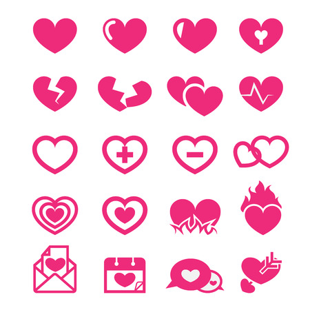 heart in flame: hearts icons set Illustration