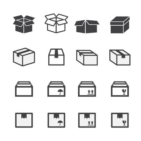 boite carton: bo�te, ic�ne, ensemble Illustration