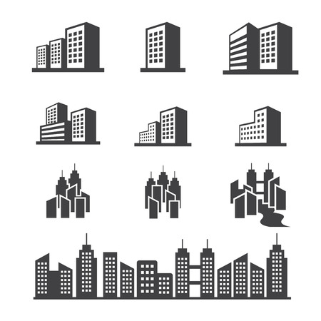 business district: building icon Illustration
