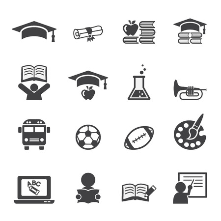 education: l'éducation icône ensemble
