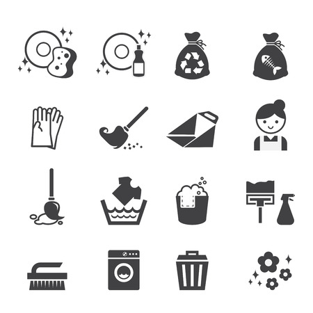 the maid: cleaning icon Illustration