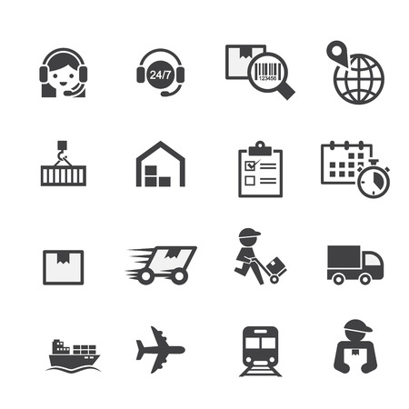 distribution: shipping icon set Illustration