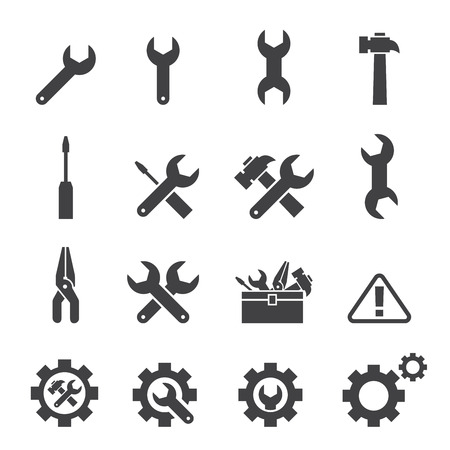 maintenance work: tool icon set
