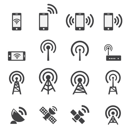 cell phone transmitter tower: Mobile devices and wireless icon set