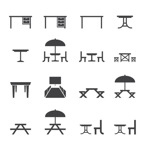 sitting at table: table icon set