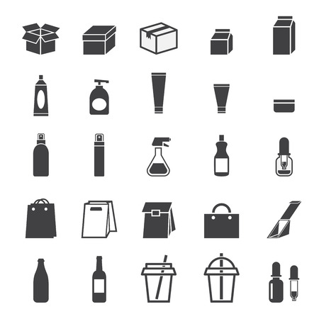 dishwashing liquid: packaging icon set