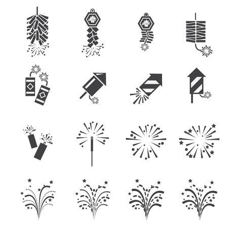 fireworks: conjunto de iconos de fuegos artificiales