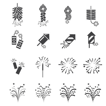 chinese new year: firework  icon set