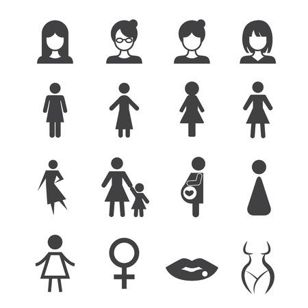 mujer: mujer icono Vectores