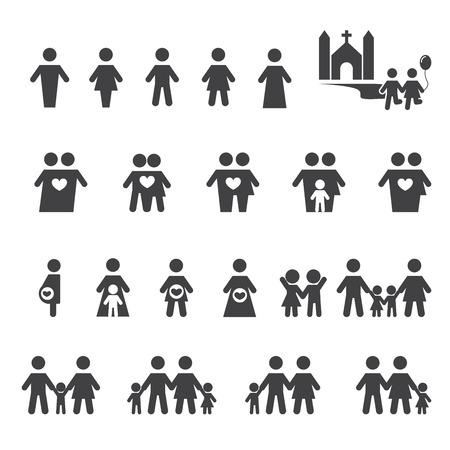 家庭: 個人和家庭圖標 向量圖像