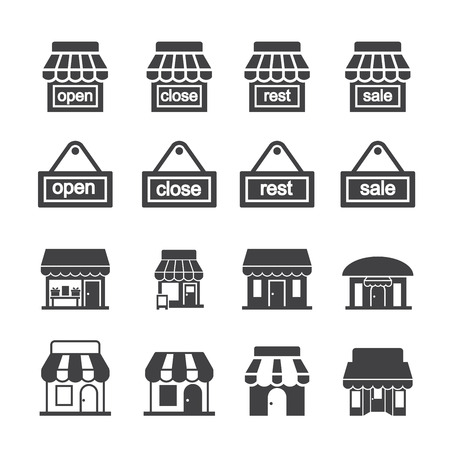 supermarket series: shop building icon set