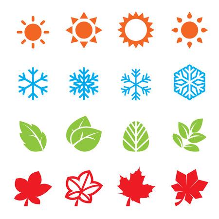 estaciones del a�o: temporada de conjunto de iconos Vectores