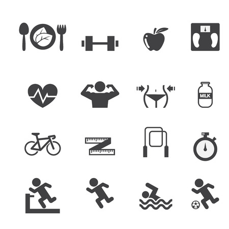 weightlifter: Fitness and Health icons set