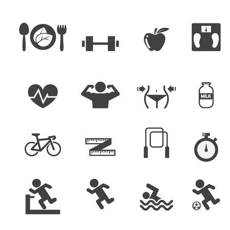 icone sanit�: Fitness e Salute icone set Vettoriali