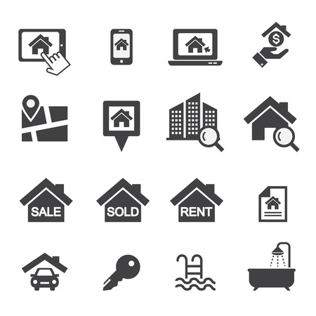 office plan: Real estate icons Illustration