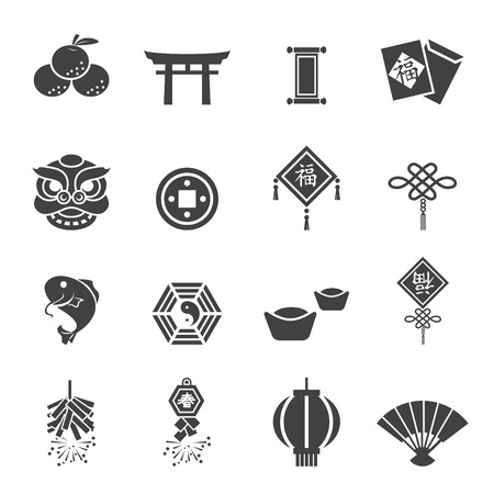 chinese style: Chinese New Year Icons Illustration