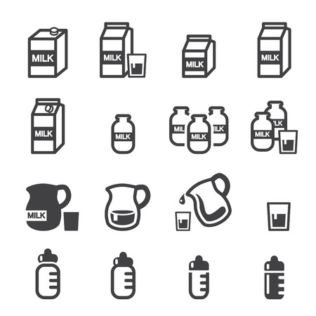 milk jugs: milk icon Illustration