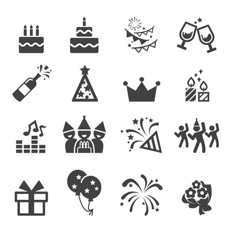 pasteles de cumplea�os: cumplea�os icono Vectores