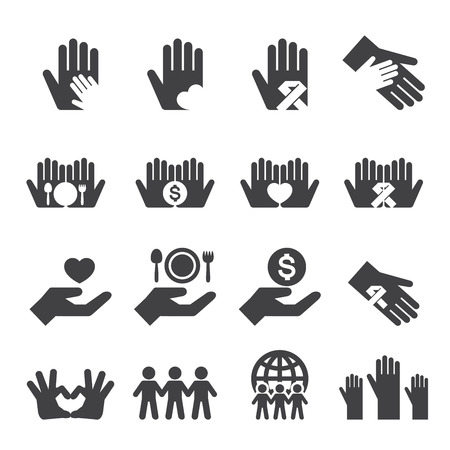 community service: Charity icons set