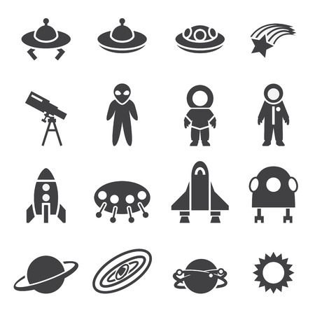 kidnapped: space icon set Illustration