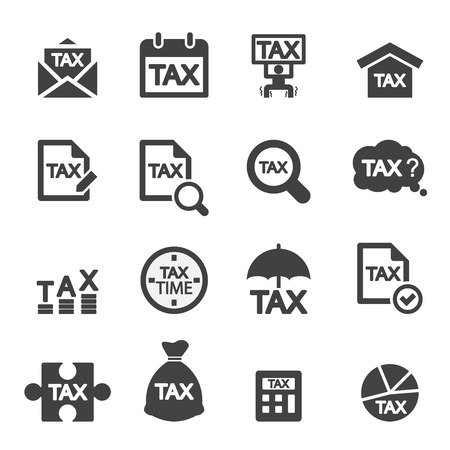 tax icon set Stock Illustratie