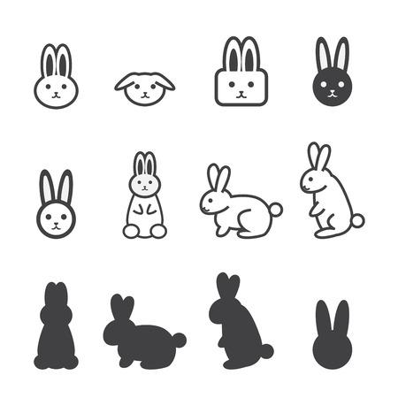 silhouette lapin: lapin icône Illustration