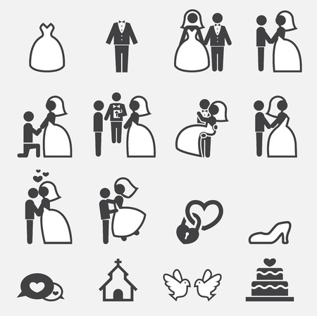 bride and groom illustration: wedding icon Illustration