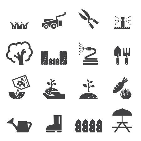 regar las plantas: césped icono conjunto Vectores